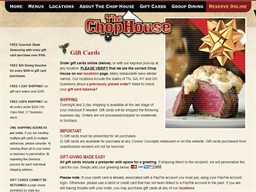 The Chop House Steakhouse gift card purchase