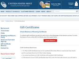 United States Mint gift card balance check