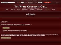 The White Chocolate Grill gift card purchase