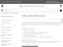 Christopher and Banks gift card purchase