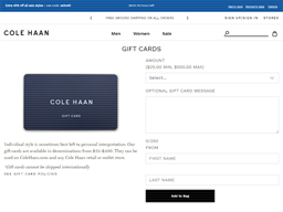Cole Haan gift card purchase
