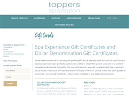 Toppers Spa gift card purchase