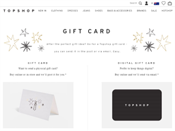 Topshop gift card purchase