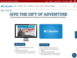 Columbia gift card balance check