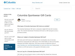 Columbia gift card purchase