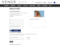 Venus gift card purchase