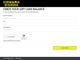 Waffle House gift card balance check