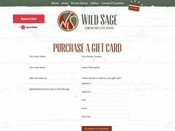 Wild Sage Bistro gift card purchase