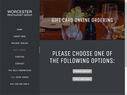 Worcester Restaurant Group gift card balance check