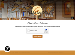 Eddie Merlot's gift card balance check