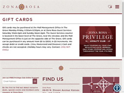 Zona Rosa gift card purchase