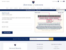 Aspinal of London gift card balance check