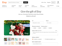 Etsy gift card purchase