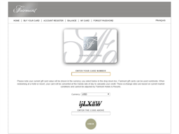 Fairmont Hotels gift card balance check