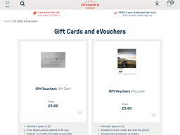 Cotswold Outdoor gift card purchase