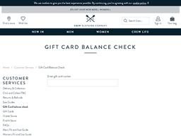 Crew Clothing Company gift card balance check