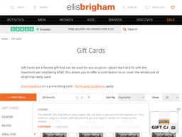Ellis Brigham gift card purchase