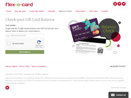 Flex E Card gift card balance check