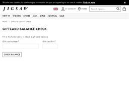 Jigsaw gift card balance check