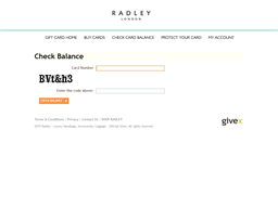 Radley London gift card balance check