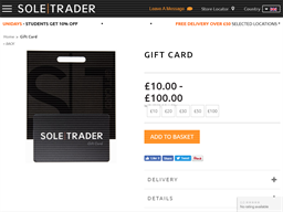 Sole Trader gift card purchase