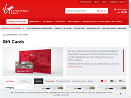 Virgin Experience Days gift card purchase