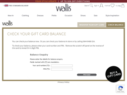 Wallis gift card balance check