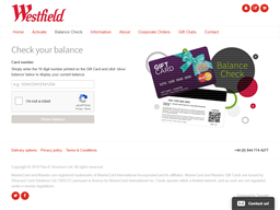 Westfield Shopping Centre gift card balance check