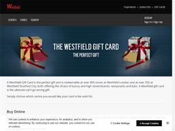 Westfield Shopping Centre gift card purchase