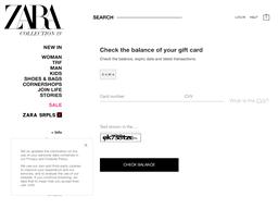 Zara gift card balance check
