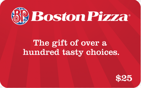 Boston Pizza gift card design and art work