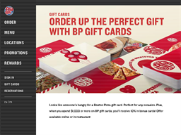 Boston Pizza gift card purchase