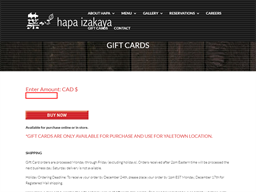 Hapa Izakaya gift card purchase