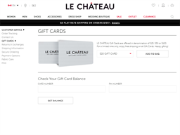Le Chateau gift card balance check