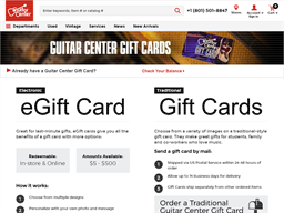 Guitar Center gift card purchase