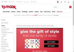 T.J. Maxx gift card purchase
