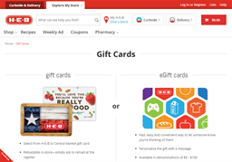 H-E-B Grocery Store gift card purchase