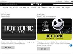 Hot Topic gift card purchase