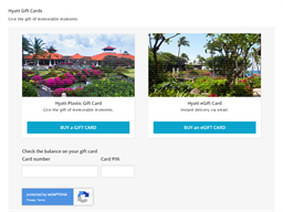 Hyatt Hotels Resorts gift card balance check