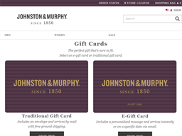 Johnston & Murphy gift card purchase