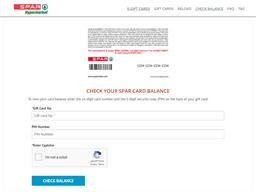 Spar Hypermarkets gift card balance check
