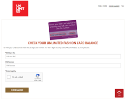 Unlimited gift card balance check