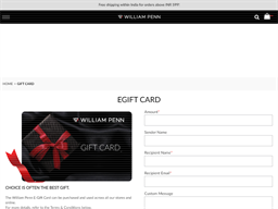 William Penn gift card purchase