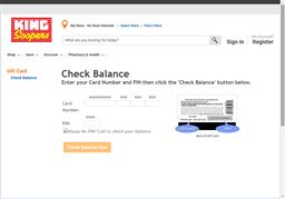 King Soopers gift card balance check