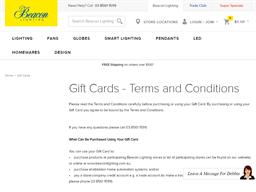 Beacon Lighting gift card purchase