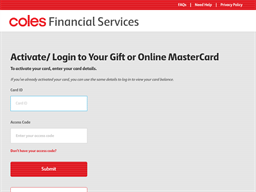 Coles Gift Mastercard (Reloadable) gift card balance check