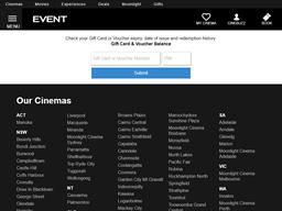 Event Cinemas Gold Class gift card balance check