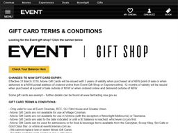 Event Cinemas Gold Class gift card purchase