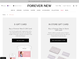 Forever New gift card balance check