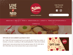 Mrs Fields Bakery Cafe gift card purchase
